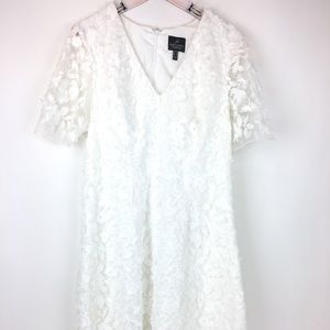 Adrianna Papell White Floral 3D Knee Length Dress